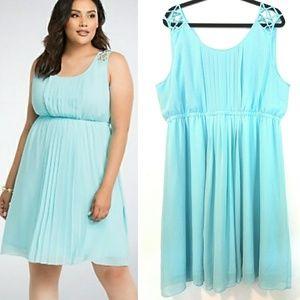 3X Torrid Ice Blue Lattice Strap Chiffon Dress